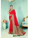 Red Latest Designer Party Wear Paithani Pallu Soft Silk Sari