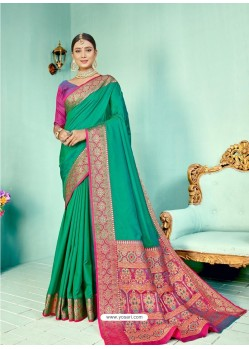 Aqua Mint Latest Designer Party Wear Paithani Pallu Soft Silk Sari