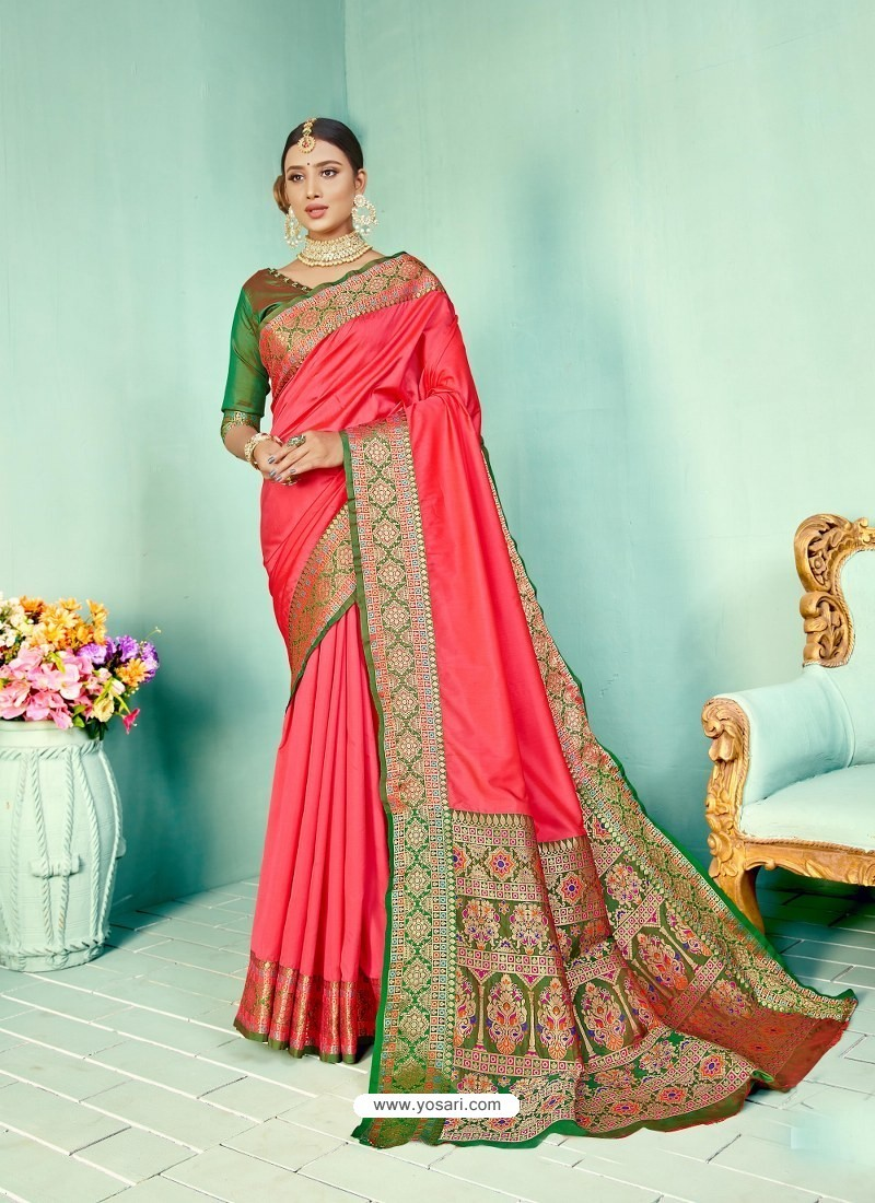 Light Red Latest Designer Party Wear Paithani Pallu Soft Silk Sari