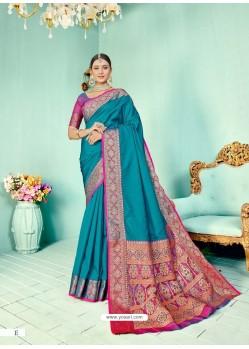 Blue Latest Designer Party Wear Paithani Pallu Soft Silk Sari