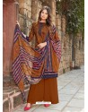Brown Latest Designer Party Wear Cambric Cotton Palazzo Suit