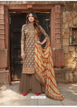Camel Latest Designer Party Wear Cambric Cotton Palazzo Suit