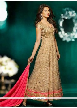 Priyanka Chopra Beige Net Anarkali Salwar Kameez