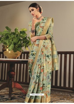 Sea Green Designer Traditional Party Wear Linen Sari