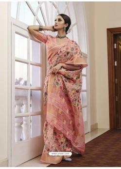 Pink Designer Traditional Party Wear Linen Sari