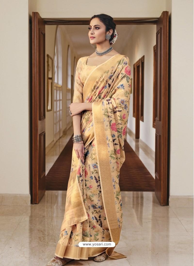 Cream Designer Traditional Party Wear Linen Sari