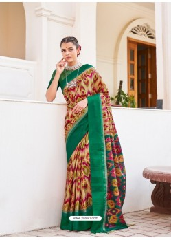 Dark Green Designer Casual Wear Real Pochamplly Ikkat Silk Sari