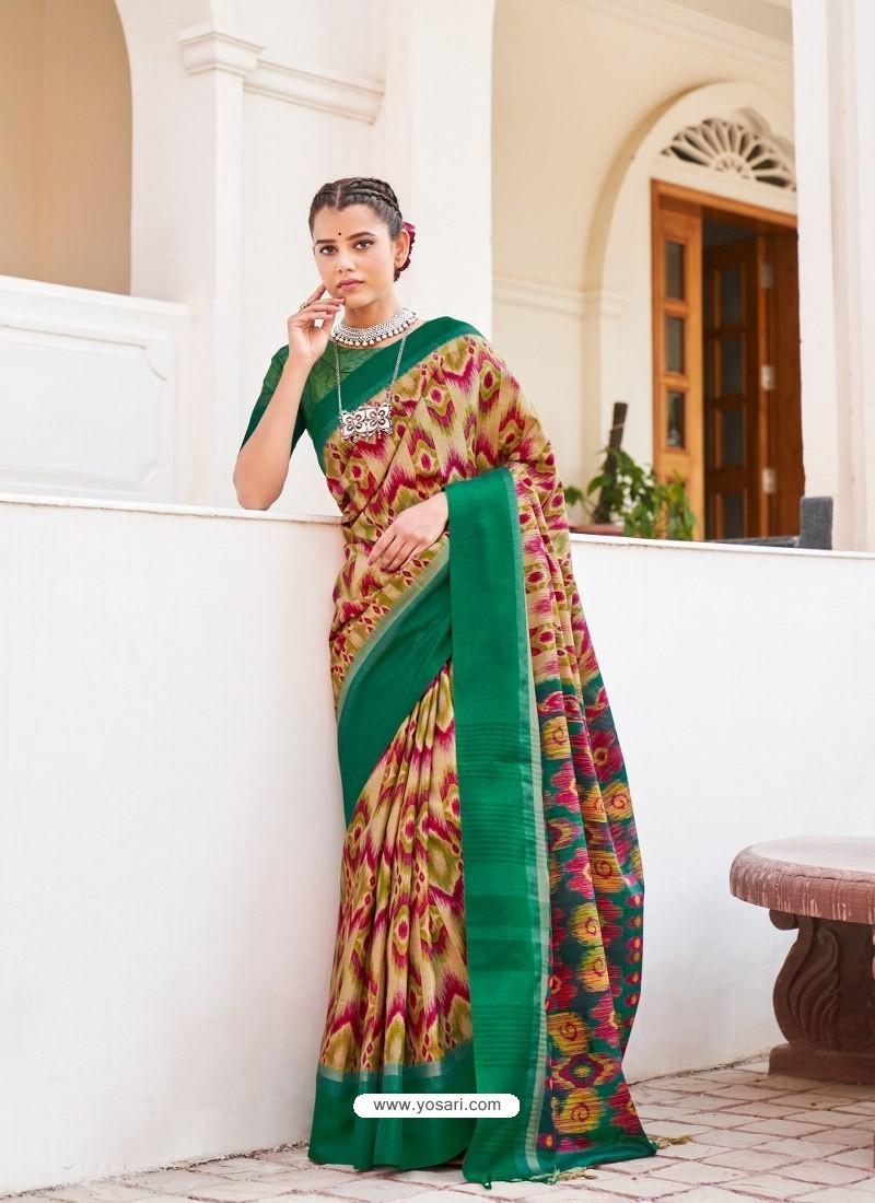 Dark Green Designer Casual Wear Real Pochamplly Ikkat Silk Sari