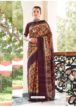 Deep Wine Designer Casual Wear Real Pochamplly Ikkat Silk Sari