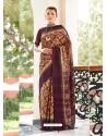 Deep Wine Designer Casual Wear Real Pochamplly Ikkat Silk Sari