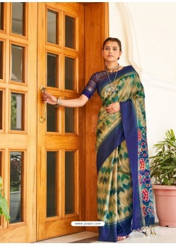 Dark Blue Designer Casual Wear Real Pochamplly Ikkat Silk Sari