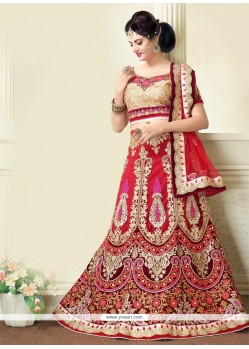 Surpassing Red Resham Work A Line Lehenga Choli