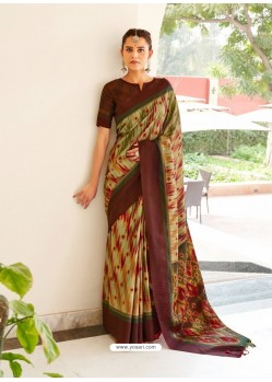 Multi Colour Designer Casual Wear Real Pochamplly Ikkat Silk Sari