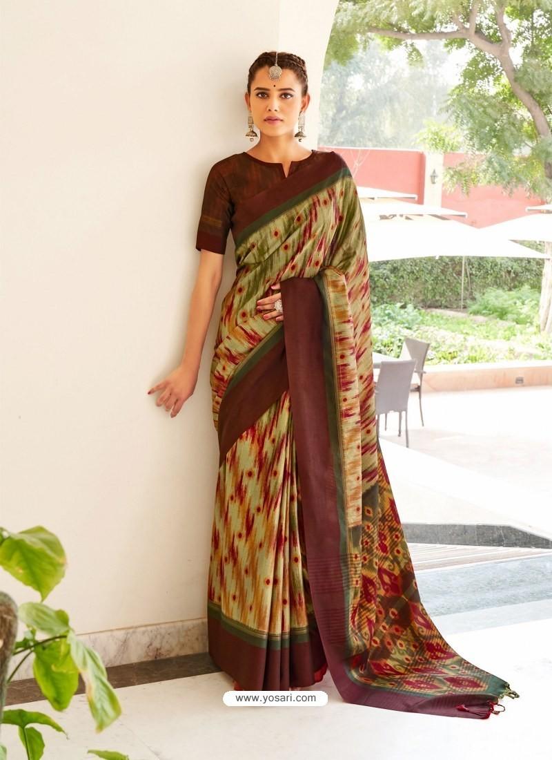 Multi Colour Designer Casual Wear Real Pochamplly Ikkat Silk Sari