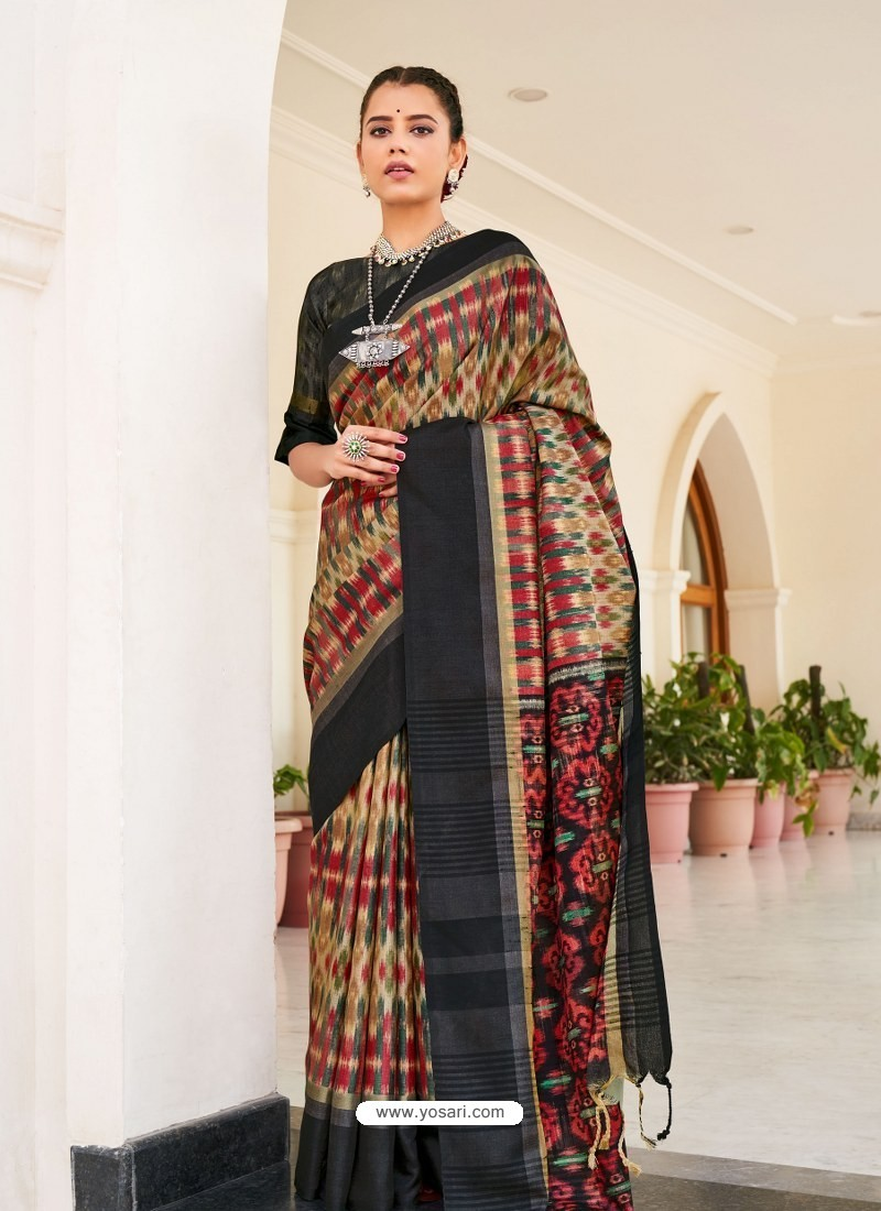 Black Designer Casual Wear Real Pochamplly Ikkat Silk Sari