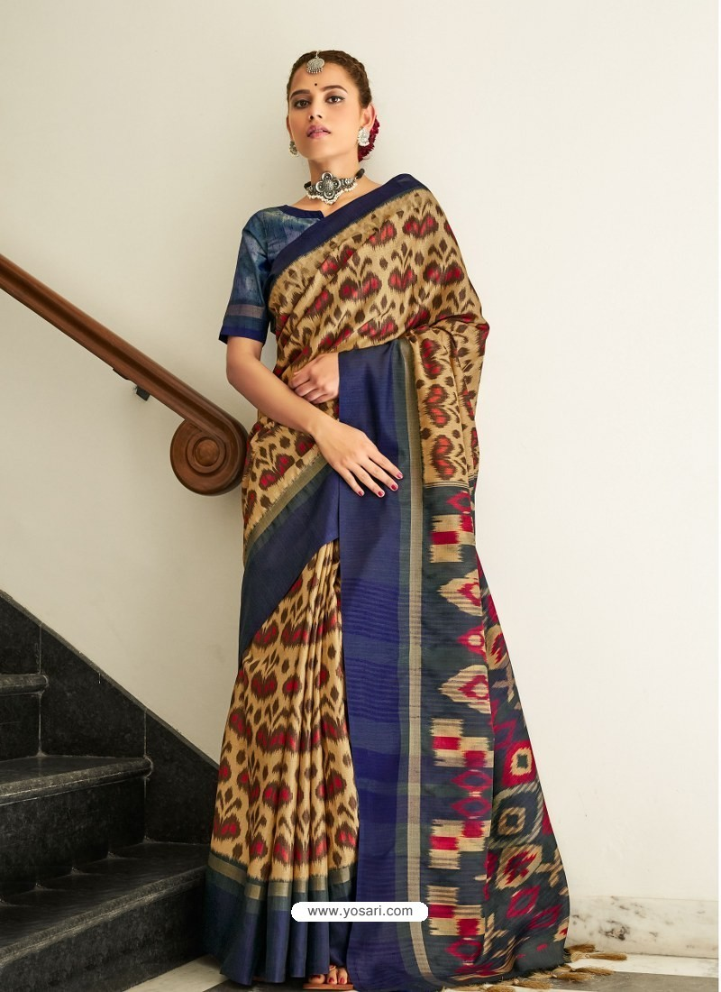 Dark Blue Designer Casual Wear Real Pochamplly Ikkat Silk Sari