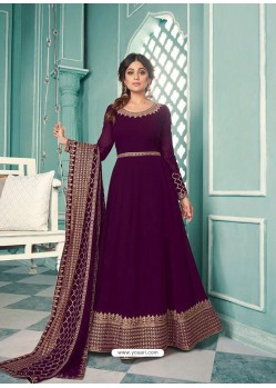 Purple Real Georgette Designer Party Wear Anarkali Suit