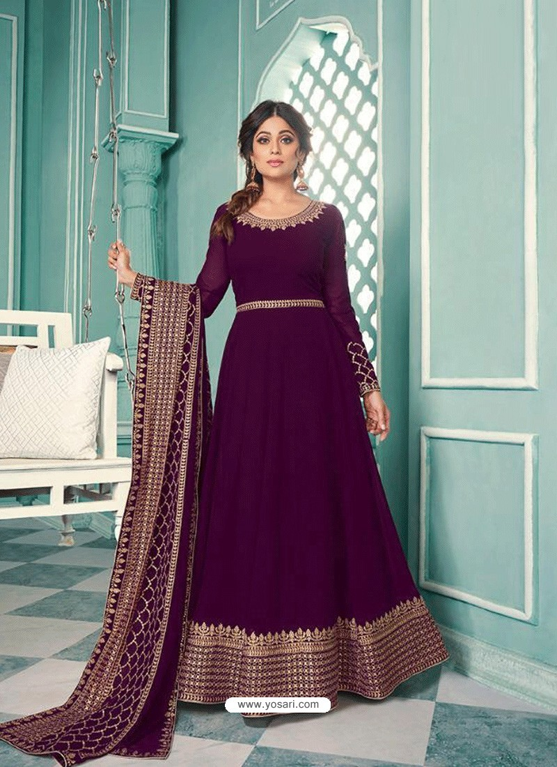 Purple Real Georgette Designer Party Wear Anarkali Suit