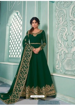 Dark Green Real Georgette Designer Party Wear Anarkali Suit