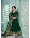 Dark Green Real Georgette Designer Party Wear Anarkali Suit
