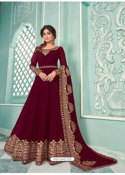 Maroon Real Georgette Designer Party Wear Anarkali Suit
