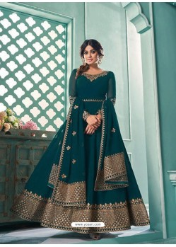 Teal Blue Real Georgette Designer Party Wear Anarkali Suit