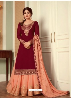 Maroon Real Georgette Designer Party Wear Wedding Suit