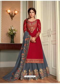 Tomato Red Real Georgette Designer Party Wear Wedding Suit