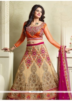 Fabulous Georgette Embroidered Work A Line Lehenga Choli