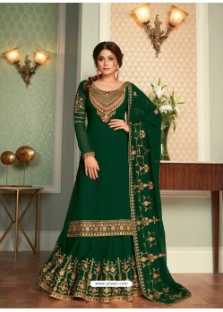 Dark Green Real Georgette Designer Party Wear Wedding Suit