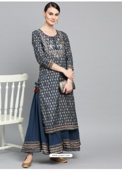 Teal Blue Designer Readymade Party Wear Kurti With Palazzo