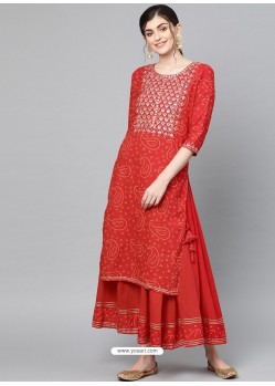 Red Designer Readymade Party Wear Kurti With Palazzo
