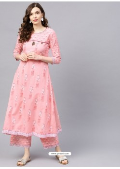 Baby Pink Designer Readymade Party Wear Kurti With Palazzo