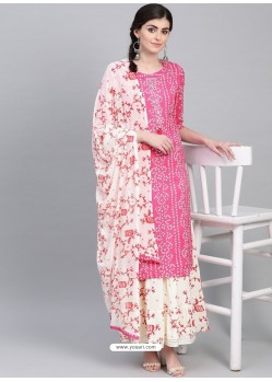 Hot Pink Designer Readymade Party Wear Kurti With Palazzo