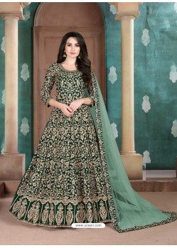 Dark Green Faux Georgette Designer Party Wear Anarkali Suit