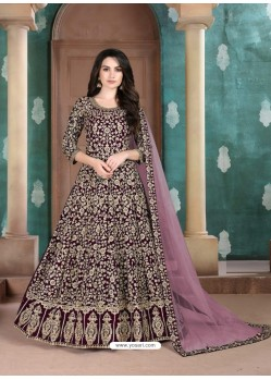 Deep Wine Faux Georgette Designer Party Wear Anarkali Suit