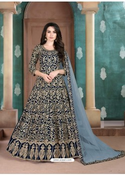 Navy Blue Faux Georgette Designer Party Wear Anarkali Suit