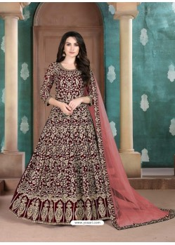 Maroon Faux Georgette Designer Party Wear Anarkali Suit