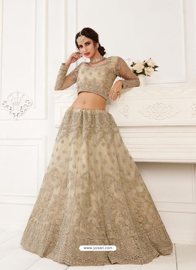 Taupe Latest Designer Wedding Wear Lehenga Choli