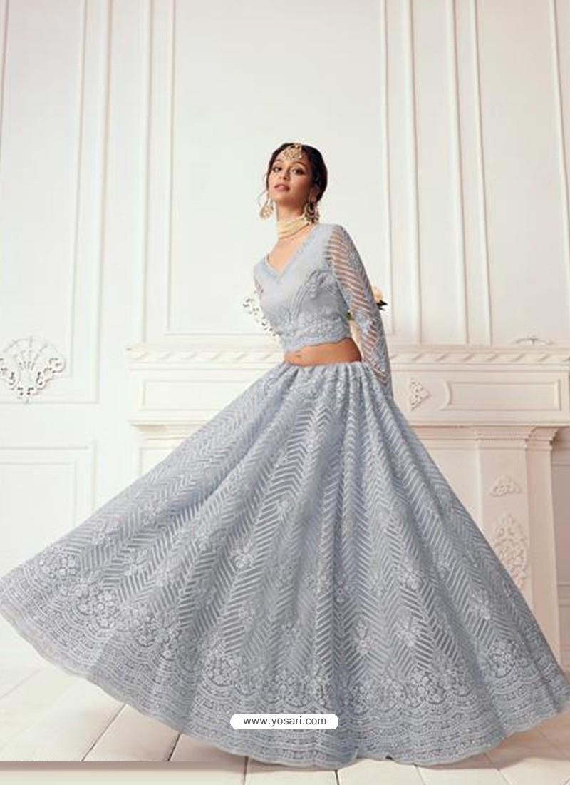 Aqua Grey Latest Designer Wedding Wear Lehenga Choli