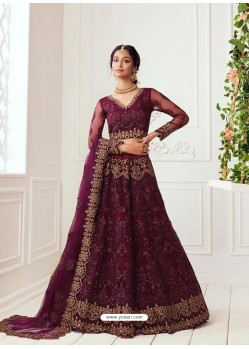 Deep Wine Latest Designer Wedding Wear Lehenga Choli