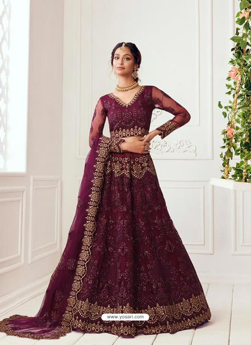 Deep Wine Latest Designer Wedding Wear Lehenga Choli