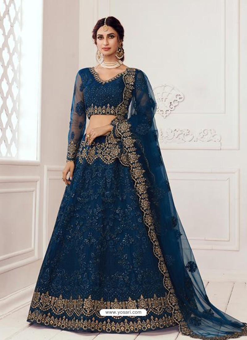 Teal Blue Latest Designer Wedding Wear Lehenga Choli