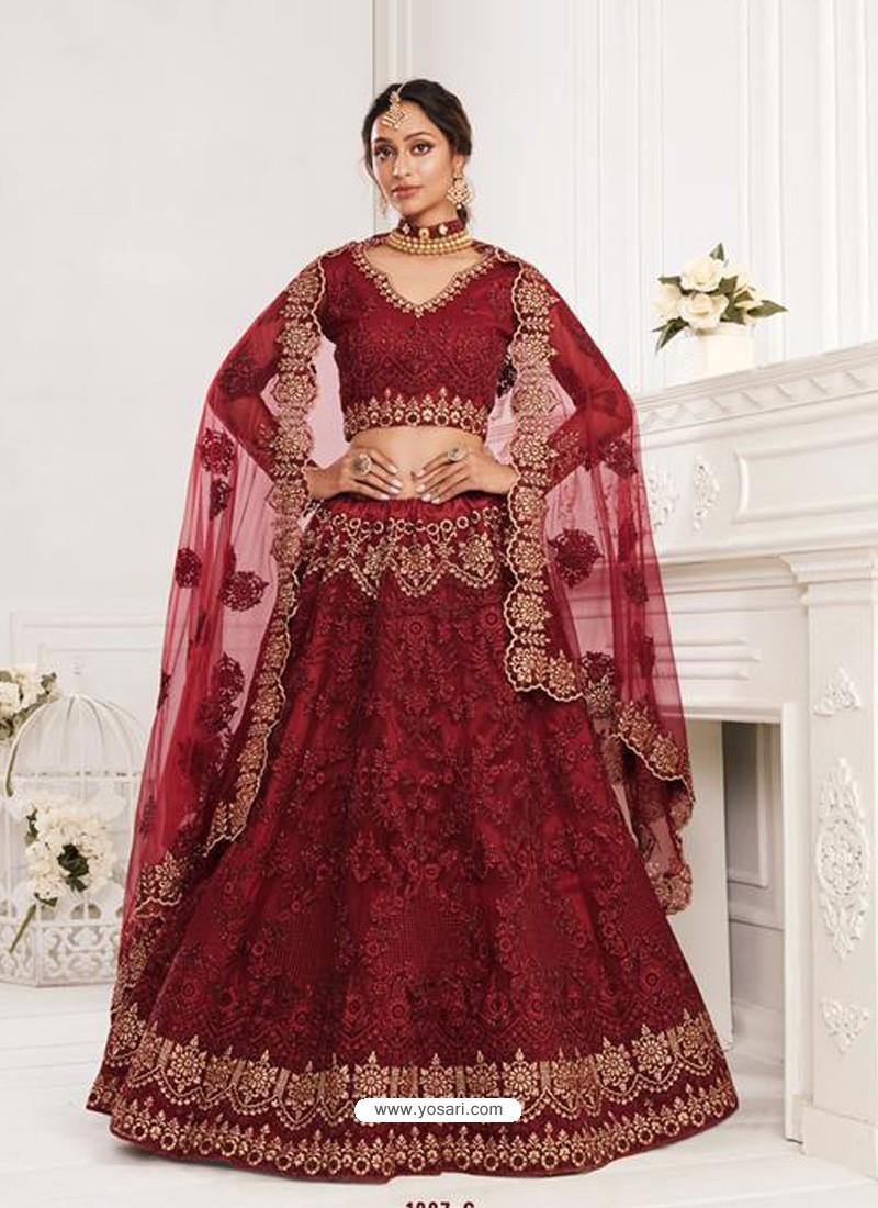 Maroon Latest Designer Wedding Wear Lehenga Choli