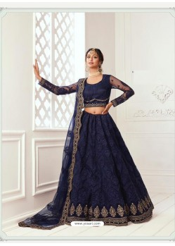 Navy Blue Latest Designer Wedding Wear Lehenga Choli