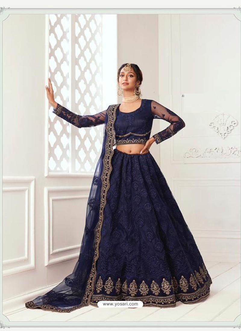 Navy Blue Latest Designer Wedding Wear Lehenga Choli