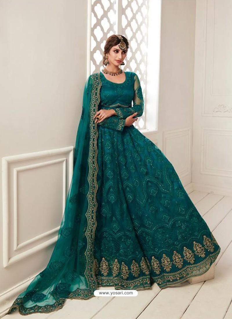 Teal Latest Designer Wedding Wear Lehenga Choli