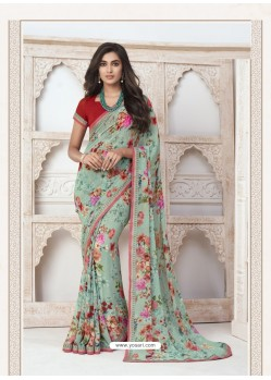 Sea Green Designer Casual Wear Pure Georgette Sari