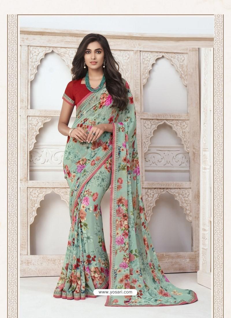 Sea Green Designer Casual Wear Pure Georgette Sari