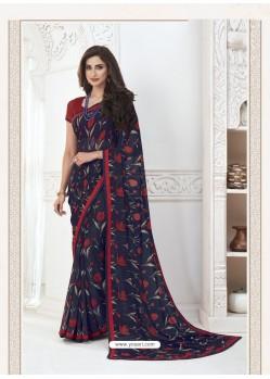 Navy Blue Designer Casual Wear Pure Georgette Sari